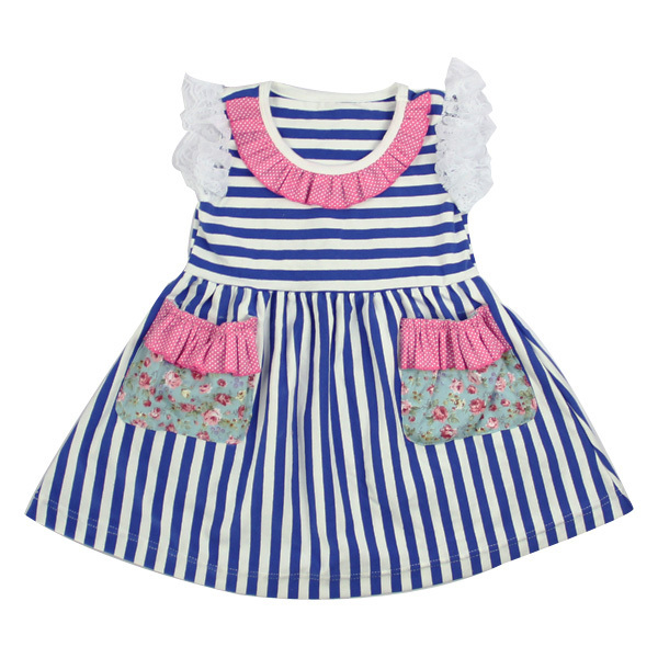 Hot sale 2017 summer girls love dress sleeveless stripe ruffle pocket cotton dress boutique newborn girls party wedding dress