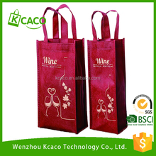 Custom promotional non woven 2 packed bottles Wine tote bag with X stitched