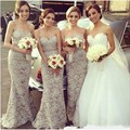Real Pictures Gray Elegant Sweetheart Sleeveless Backless Mermaid Floor Length Bridesmaid Dress Patterns