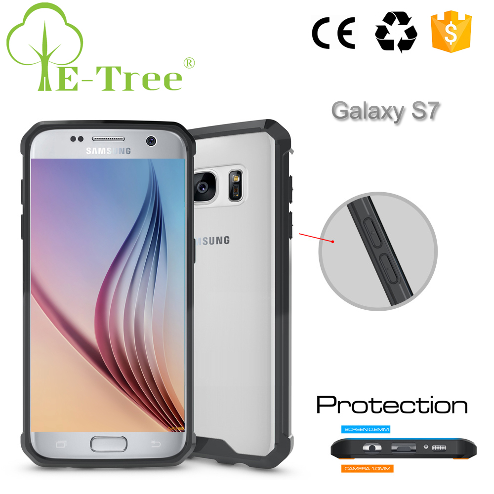 Custom Logo Acrylic Hard Back Cover TPU Bumper Mobile Phone Shell For Samsung Galaxy S7 Wholesale Case