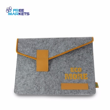 Customized recycled leather & RPET felt laptop bag