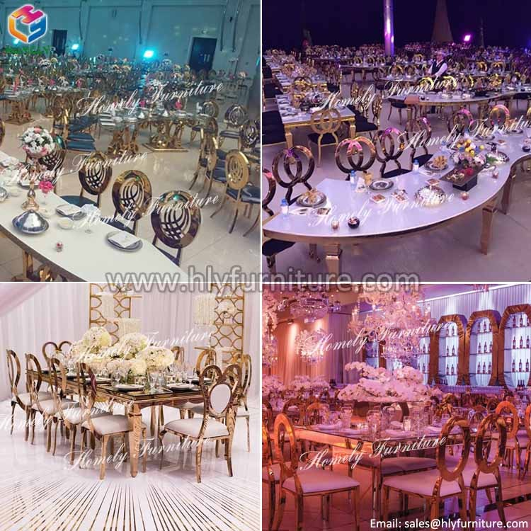 hotel hall party dinning rose gold royal back wedding modern hot sale wholesale stainless steel chair