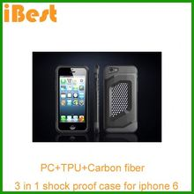 iBest mobile phone case for iphone 6/combo armour cover/PC+TPU phone cover carbon fiber phone case