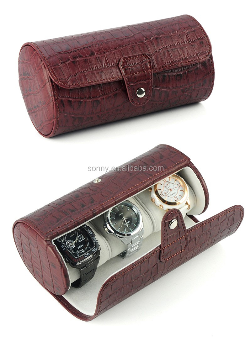 Ready Stock Aligator Line Genuine Leather Travel Watch Roll Case