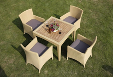 TX-D203 5pcs--Luxury garden furniture teak wood 4 seater rattan outdoor table set