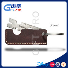 multi-functional tool keychain accurate measure ruler with leather cover