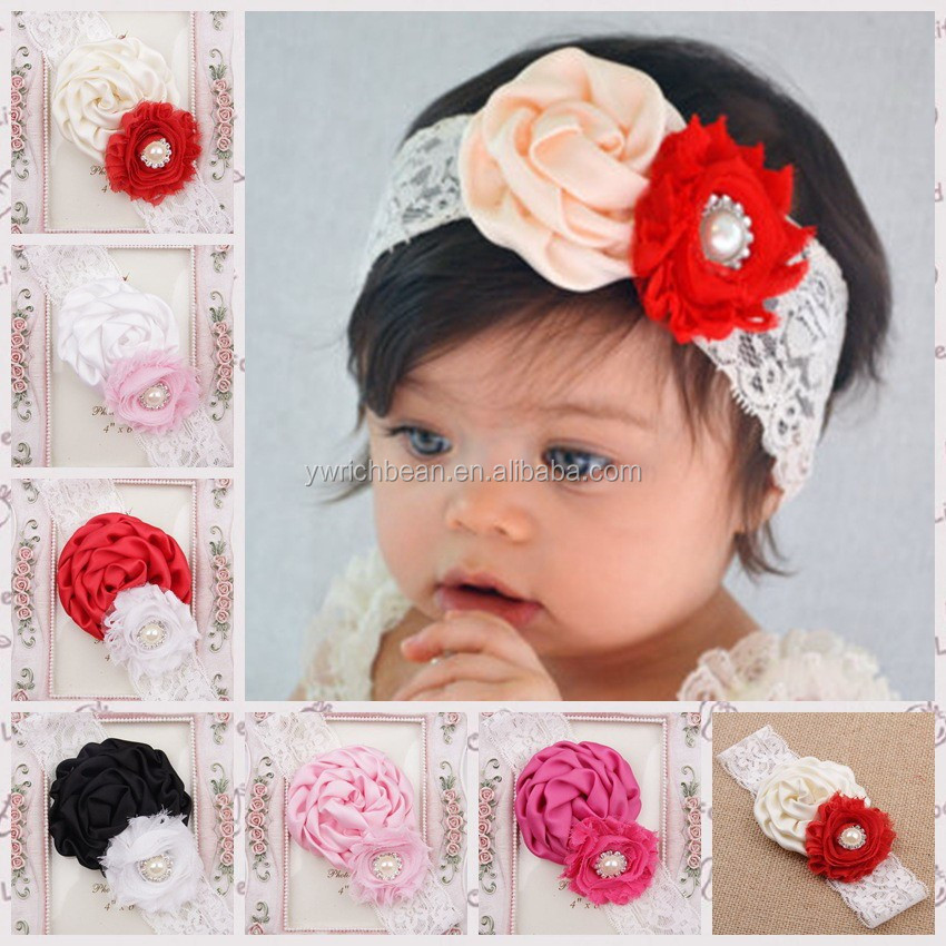 Hot-sales Girls lace flower headband kids colorful lace hairband Baby Hair accessory lace Headbands with flower WH-1322