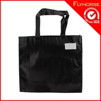 Black durable polyester handled bag with custom's logo