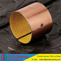 Wrapped Acetal Lined Oilite Steel+POM Bushing, DX bearing bush with oil hole,Yellow blue black red POM slide bushing manufacture