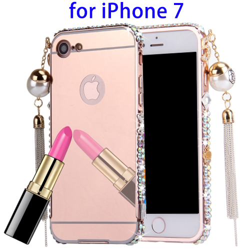 New Design Fashion Pearl Chain Pendant Diamond Encrusted Electroplating Mirror PC Cover Case for iPhone 7