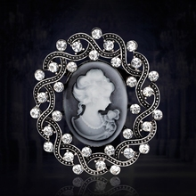 Free Shipping Royal Vintage European style Silver Plated Rhinestone Lady Cameo Brooches for Women Brooch Pins Jewelry