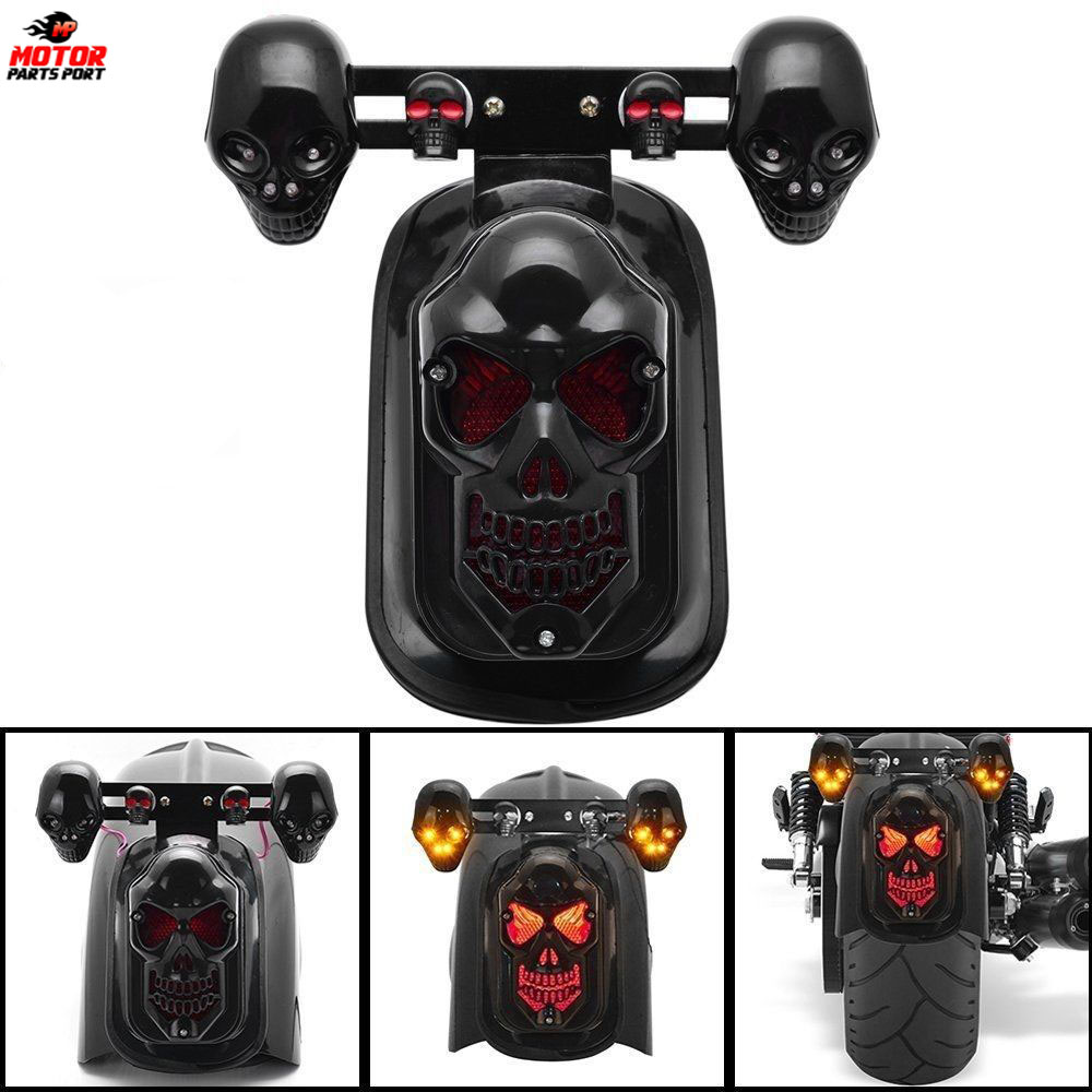 Motorcycle parts black skull brake tail light with turn signal for Harley ATV Scooter