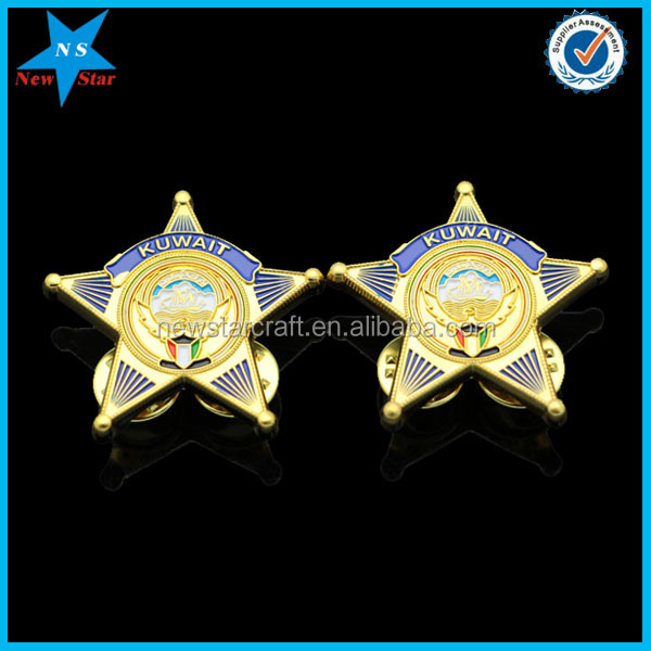 Decorated metal gold pleated enamel uae star lapel pin