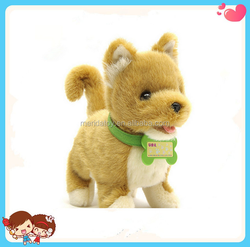 2016 new design creative custom lifelike plush dog toy Electronic walking singing dog toy