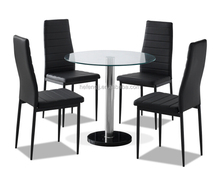 Bottom Marble Top Glass Dinning Table Set With 4 Leather Chairs