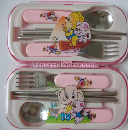 Children plastic handle Spoon and fork
