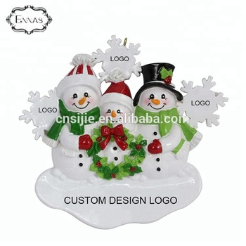 Polyresin Personalized Our Family Christmas Snowman Ornament Decoration - Free Personalization