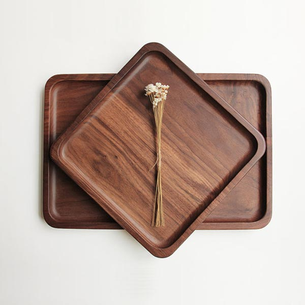 High quality custom walnut beech tray polished wood tea tray