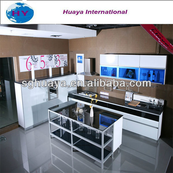 High glossy white and black Kitchen <strong>Cabinet</strong>