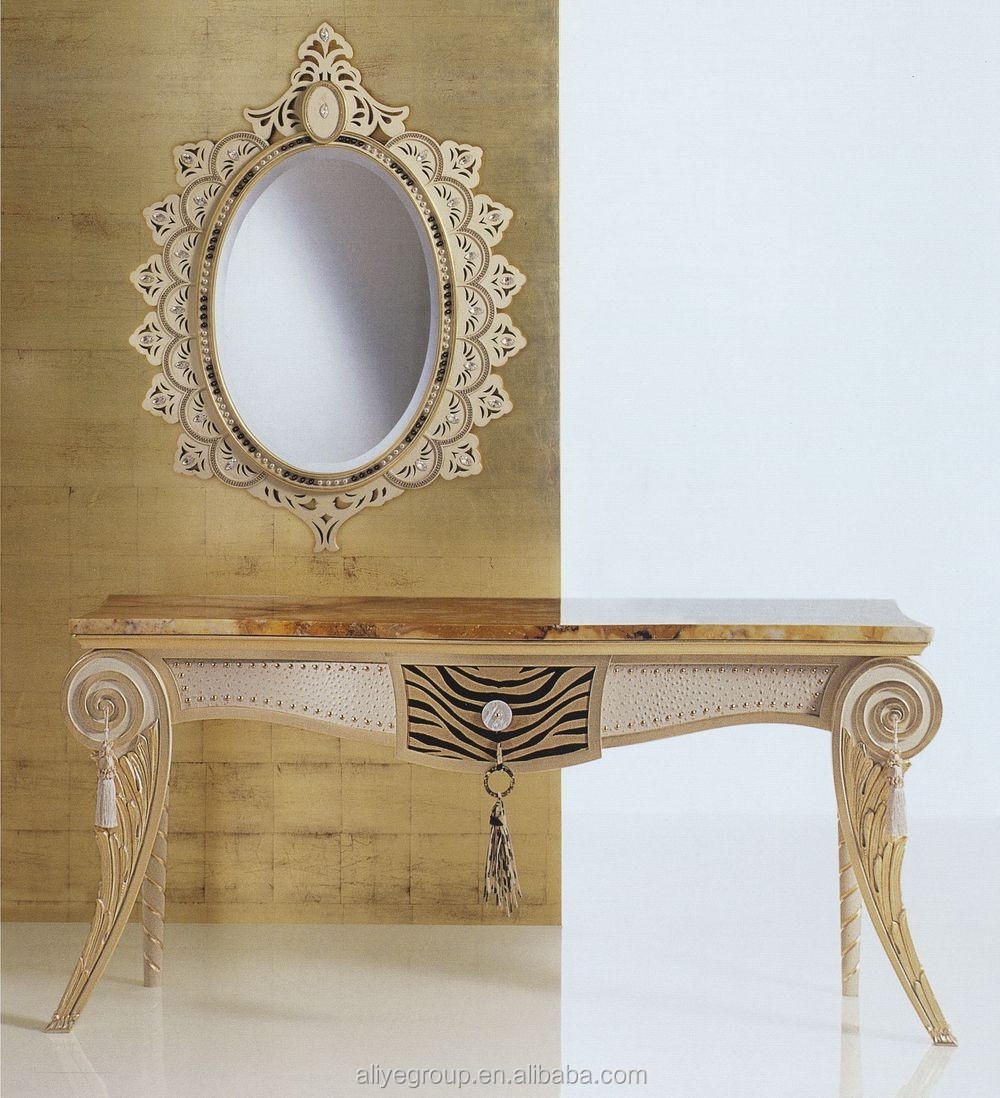 AD5212 Luxury Hobby Lobby Console Table Classic Italian Marble Console Table  With Mirror