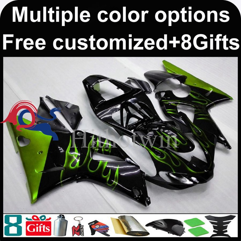green flames black Body motorcycle cowl for Yamaha YZFR1 2000-2001 00 <strong>01</strong> YZF <strong>R1</strong> 2000 2001 00-<strong>01</strong> ABS Plastic <strong>Fairing</strong>