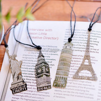 Vintage travel memory Europe and America structure gifts france new york travelling souvenir gift tower big ben metal bookmark