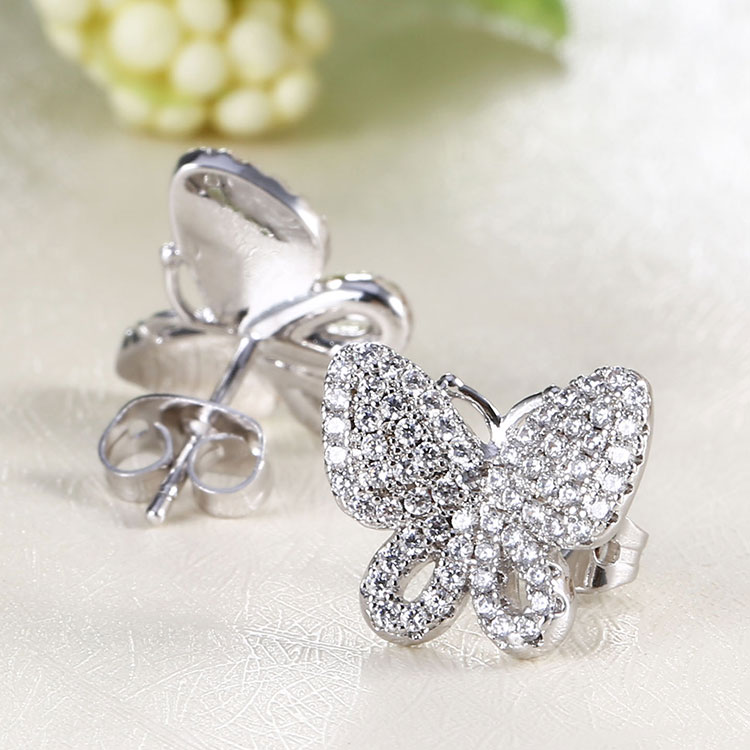 Diamond Stud Butterfly Earrings Jewelry White Gold Earrings Designs For Girls
