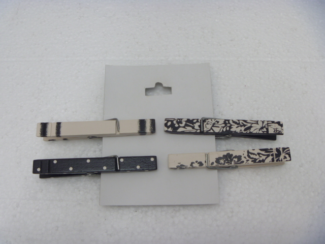 black/white design beautiful wooden clothes pegs/pins/clips