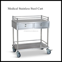 two drawers stainless steel hospital crash cart medical equipment trolley