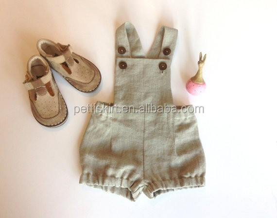 Special occasion baby tan linen dungarees boys without top summer suit overalls with two buttons on each strap