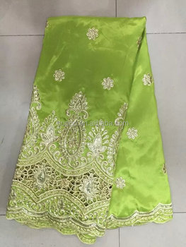 Hot sale design Indian raw silk george lace lemon green fabrics (SL7001)