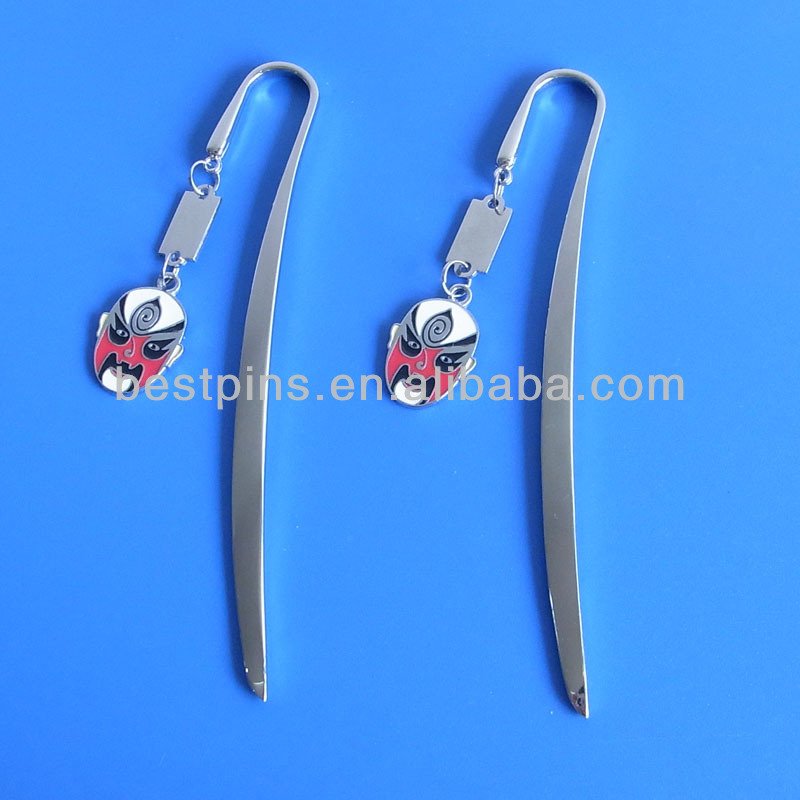 theatrical mask charms bookmark zinc alloy Bookmark with custom charms