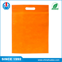 Fugang Orange color! die cut handles non woven polypropylene bags