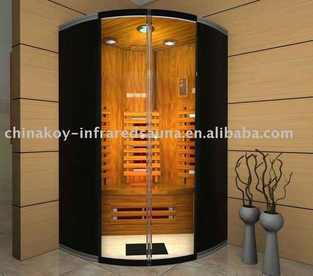 2012 new black glass 2 person dry sauna room