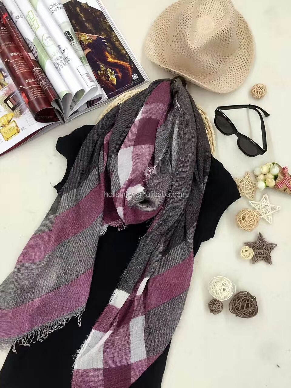 New Arrival Fashion Trendy Striped Classic Cotton Scarf for Men and Women