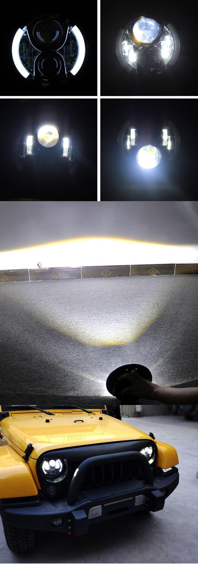 7 polegada rodada DRL levou sinal de Volta do farol 12 V 24 V 7