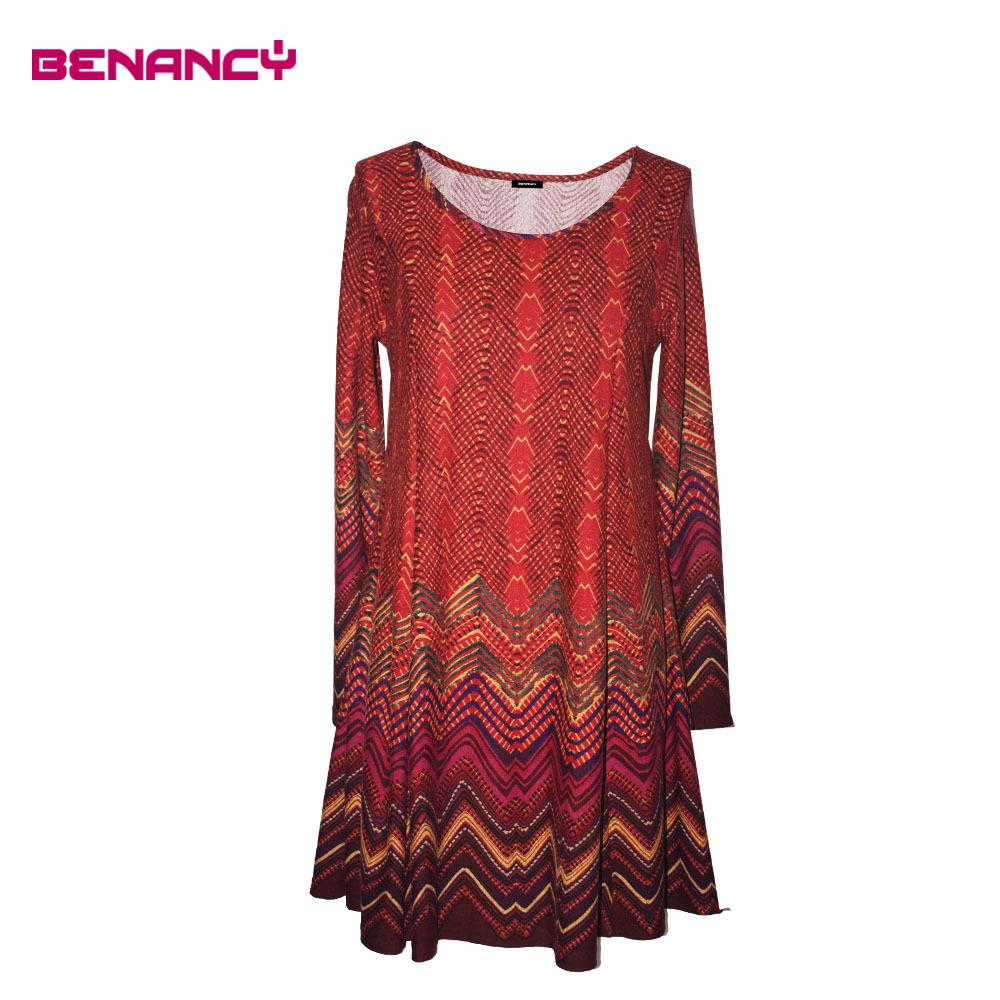 Fashion Design Dress Western Lady Zigzag Print Newest