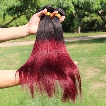 Original Can Dye brazilian Human Hair Straight Unprocessed Indian Hair Weaving 1B 99J Red Color