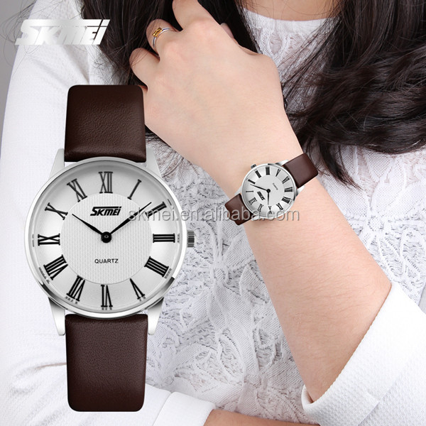 China analog quartz watches Wholesaler luxury Genuine Leather Japan Quartz Movt leather strap couple watch special