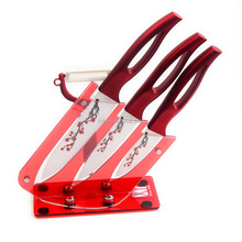 Beauty Printing Blade 3 Pcs Sets Ceramic Blade Kitchen Knife With Plastic Holder