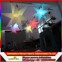 hot sale 3m inflatable hanging led lighting stars with led light