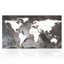 World Map Puzzle Game Canvas Painting 1 Piece Map of the World Vintage Creative Wall Poster Ready to Hang/VA170816-8