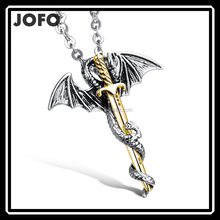 2017 HOT Men's Flying Dragon Sword Necklace Punk Dragon & Sword Men Pendant Titanium Stainless Steel Necklace