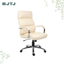 BJTJ Cheap White Executive Chrome Office Lounge Leather Recliner Chair