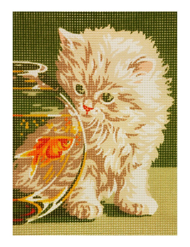Cat with Fish Bowl Needlepoint Canvas Kit