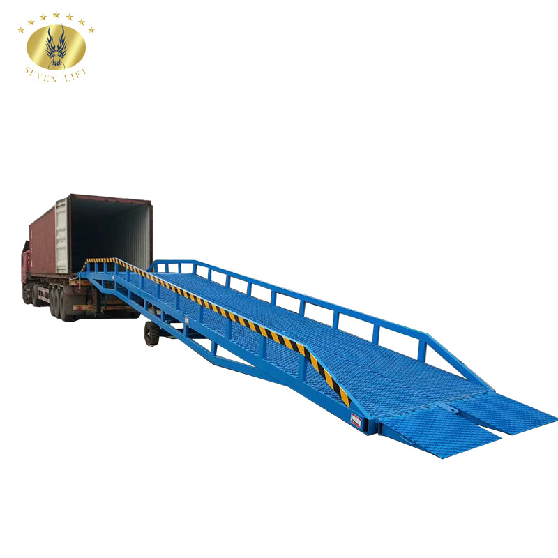 7LYQ Shandong SevenLift 10 ton heavy duty adjustable portable truck hydraulic dock mobile container unloading yard ramp