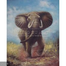 100% Handmade african wild animal oil painting of elephants on canvas