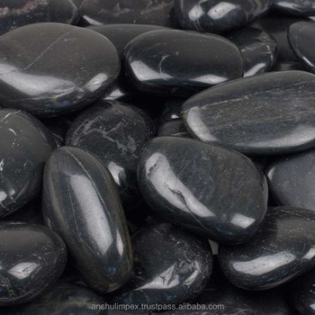 High Polished Natural Black River Pebble Stones