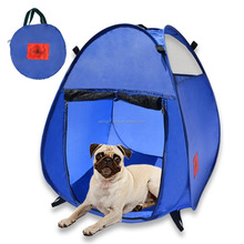 Blue Portable Puppy Doggie Play Pen, Pop Up Pet House, Kennel Tent with 3 Net Windows and Zipper Door for Shade or Shelter