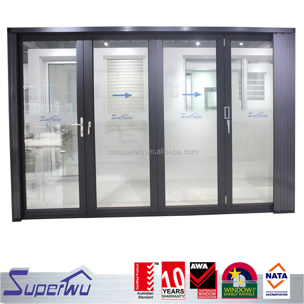Factory price aluminium bi-folding doors meet AS2047 standard customized aluminum profile treatments bi-fold door